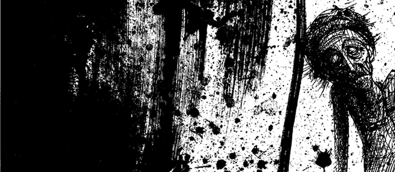 Illustrations Jan Werich - The Mean Barka 5, indian ink drawing, 2006
