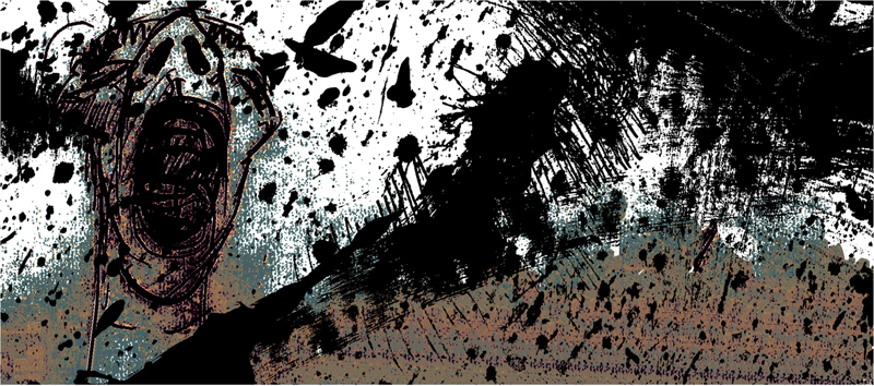 Illustrations Jan Werich - The Mean Barka 6, indian ink drawing, 2006