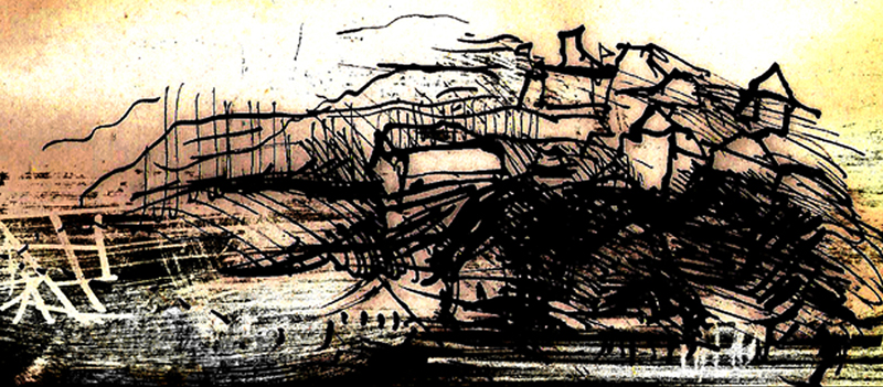 Illustrations Jan Werich - The Mean Barka 7, indian ink drawing, 2006