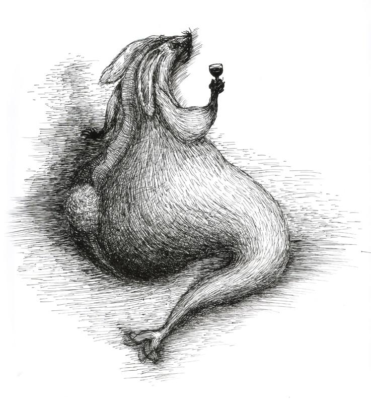 Rabbit -enjoying self, indian ink, 2010, 30x42 cm