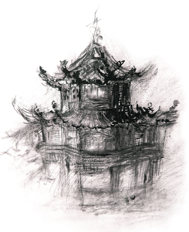 Tibetian temples, Indian ink and charcoal, 2006, 30x42 cm