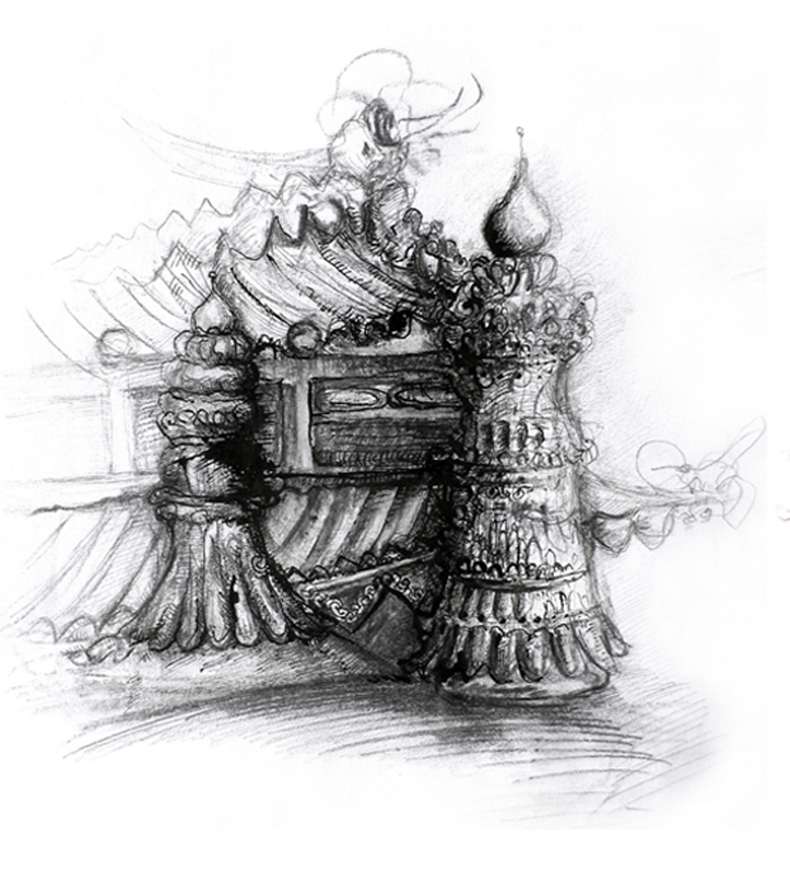 Tibetian temples, Indian ink and pen, 2006, 30x42 cm