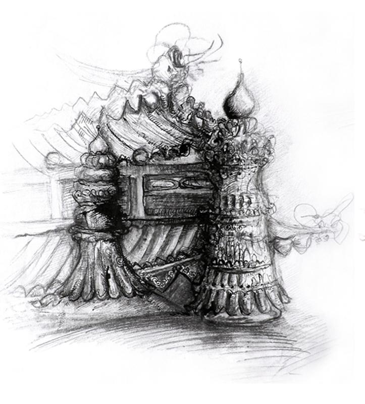Tibetian temples, Indian ink and pen, 2006, 30x42 cm