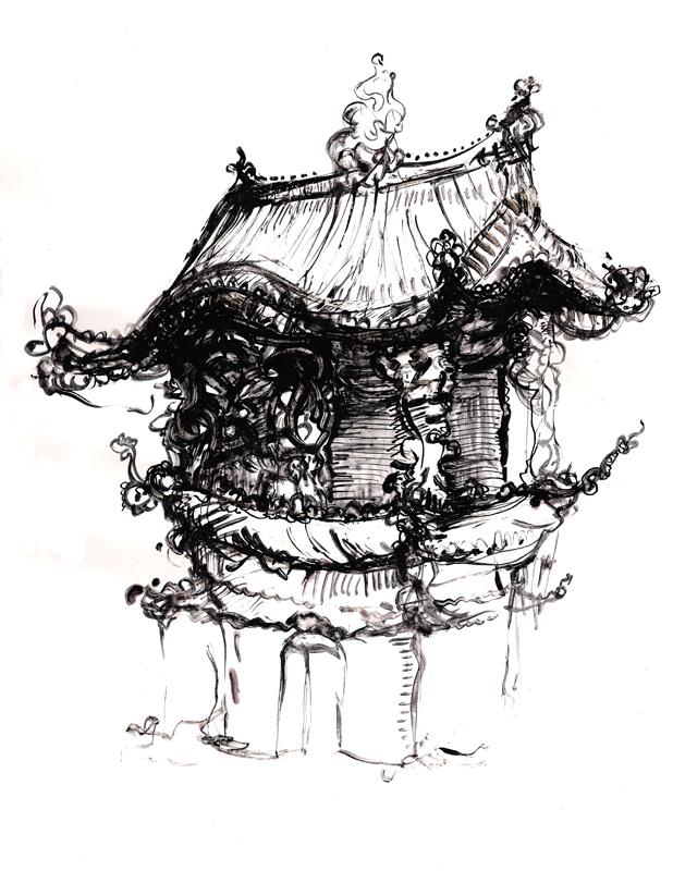 Tibetian temples illustration, Indian ink, 2006, 30x42 cm