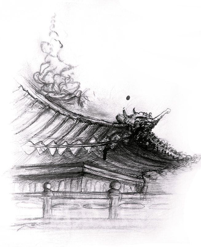 Tibetian temples illustration, Indian ink and pen, 2006, 30x42  cm