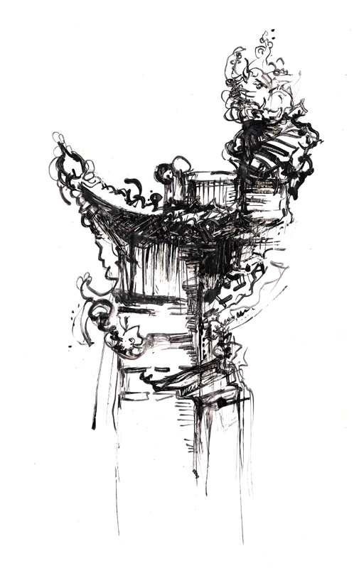 Tibetian temples illustration_detail, Indian ink, 2006, 30x42 cm