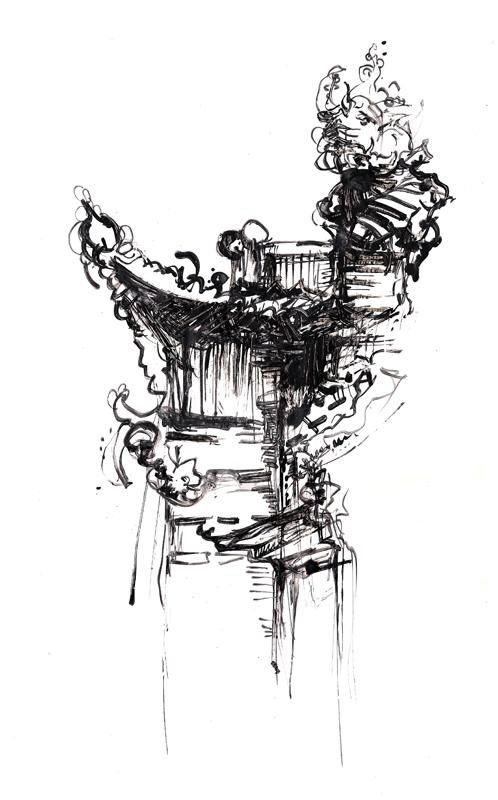 Tibetian temples illustration_detail, Indian ink, 2006, 30x42 cm