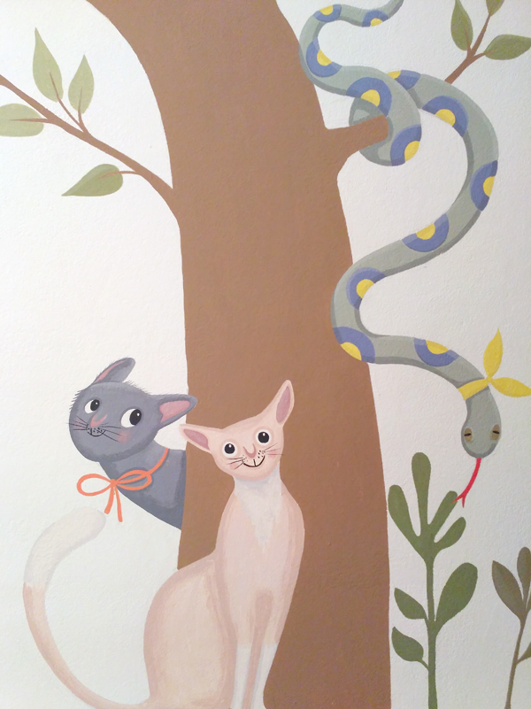 cats with snake wallpainting