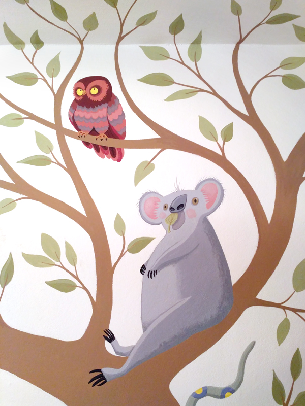 koala and owl wallpainting
