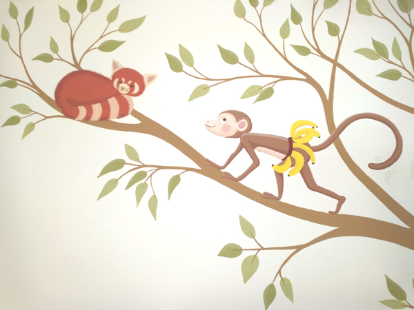 monkey and red panda