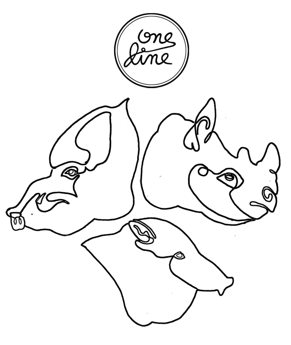 one line - pigs