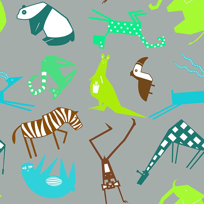 safari pattern grey