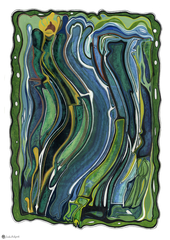 Abstract composition - Greenblue freedom, 2010, 100x70 cm