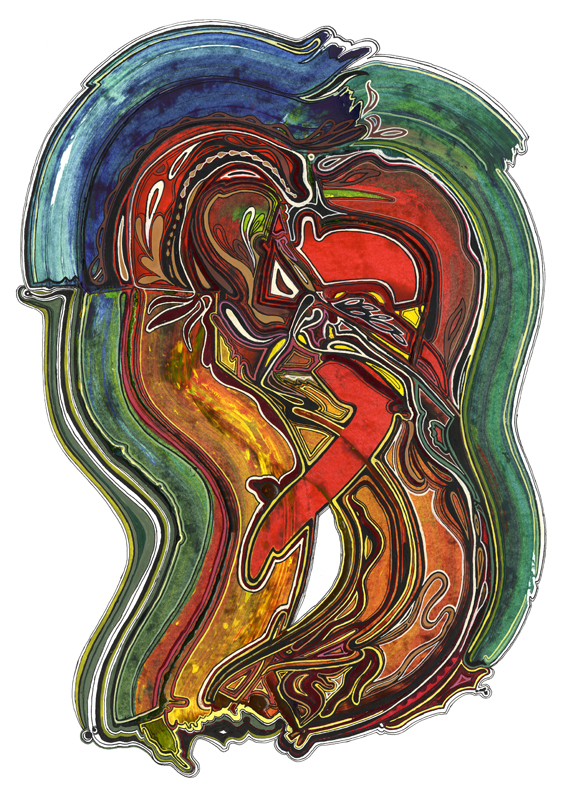 Abstract composition - Lovers, 2012, 35x50 cm