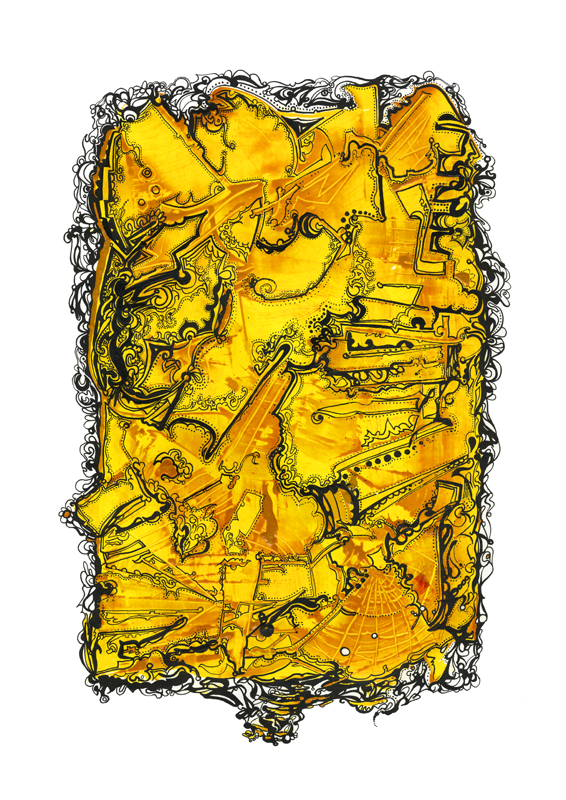 Abstract composition - Yellow, 2012, 35x50 cm