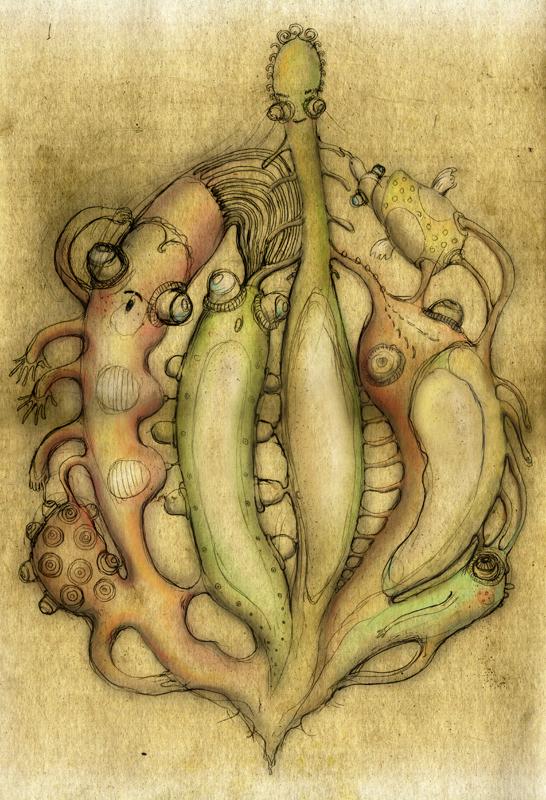 Cactus friends, digital painting, 2012, 42x30 cm