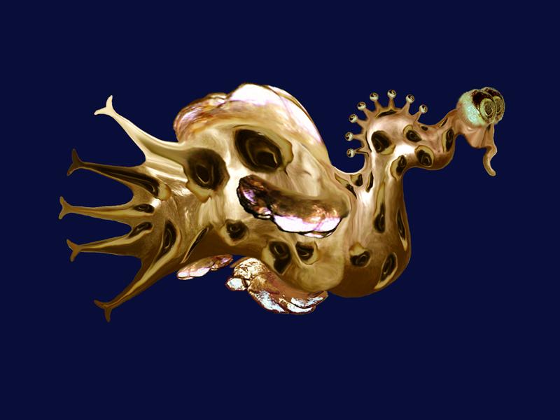 Hybrid creature - Golden violine , digital painting, 2009, 42x30 cm