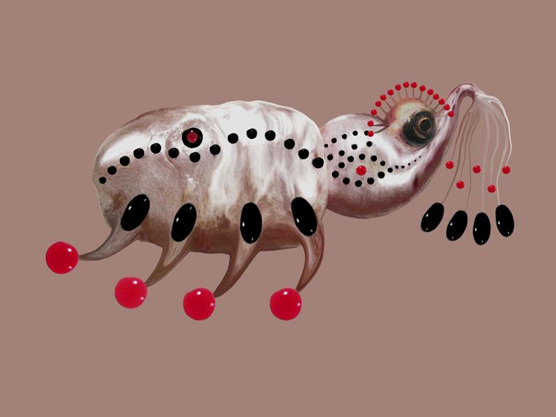 Hybrid creature - skinny, digital painting, 2009, 42x30 cm