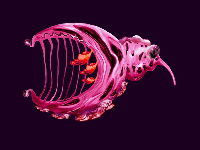 Hybrid creatures - Pink Harp, digital painting, 2009, 42x30 cm
