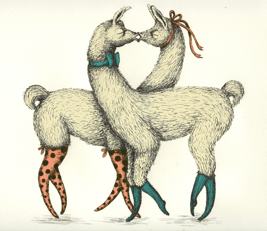 Llamas_coloured lithography color_2011_35x50cm