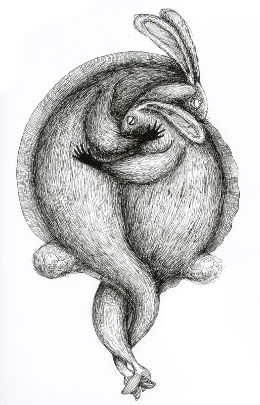 Rabbit - feeling loved, indian ink, 2010, 30x42 cm