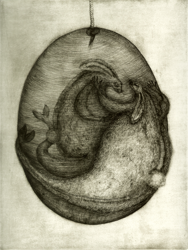 Rabbit in egg_dry etching, 2011, 35x50