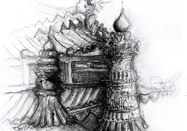 Tibetan temples, Illustrations, indain ink and pen, 2008