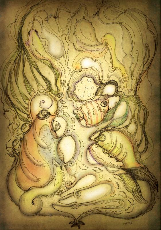 Water creatures, digital painting, 2012, 42x30 cm