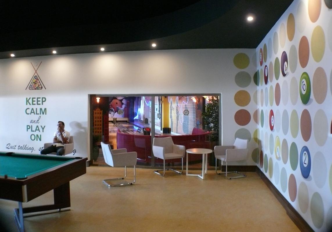 billiard club_wall painting 8x3m
