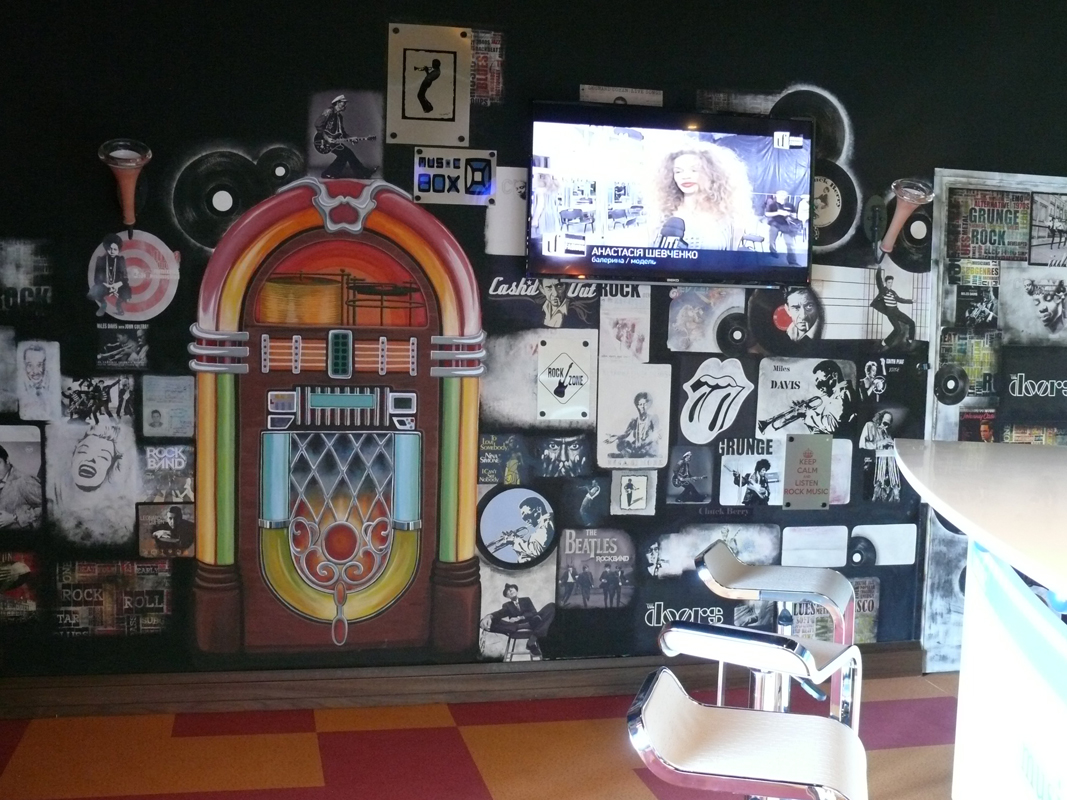 retro caffee_wall painting+collage_4x2,5m