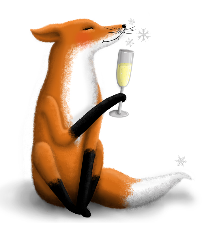 winter fox cheers champagne