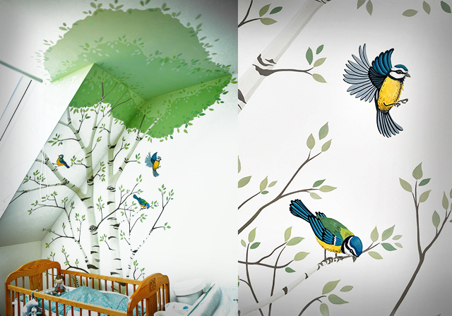 Tree with birds WALL PAINTING